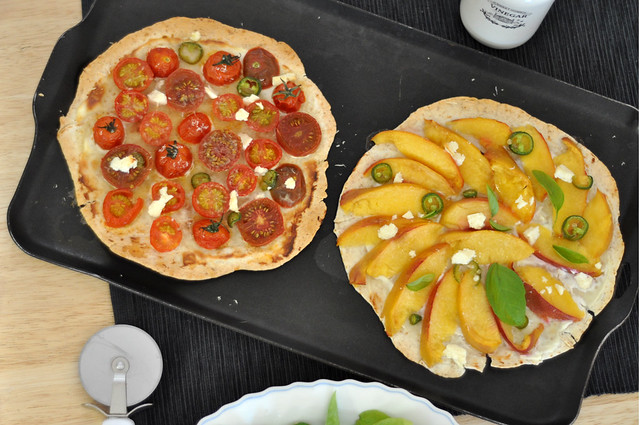 a quick weeknight meal - tortilla pizzas (nectarine & basil, and tomato & arugula)