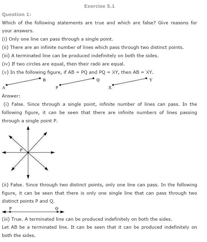 NCERT Solutions For Class 9 Maths Solutions Chapter 5 Introduction to Euclid's Geometry PDF Download 2018-19
