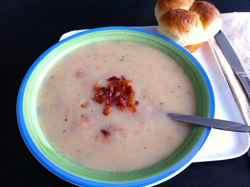Parsnip and Bacon Soup with Roll