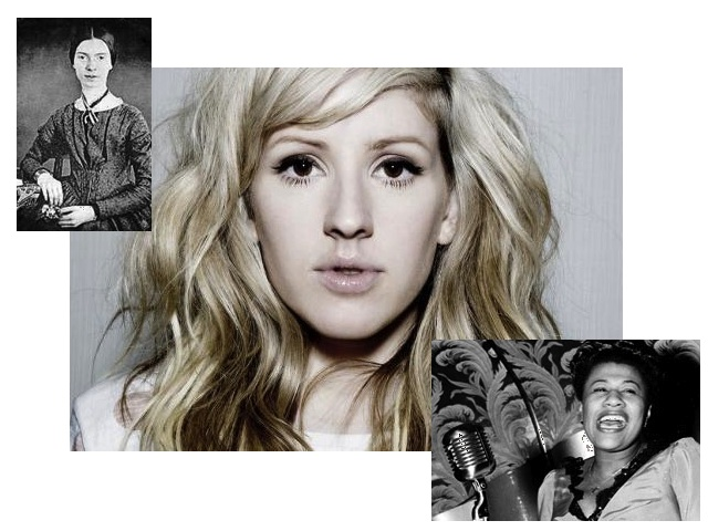 Ellie Goulding promo shot combined with black and white Emily Dickinson portrait and Ella Fitzgerald photo mid-song