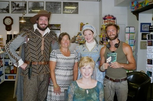 John Borden, Bookseller Extraordinaire Jamie Layton, Eleanor Dare & Ian (who's usually a hard-working colonist) + Me