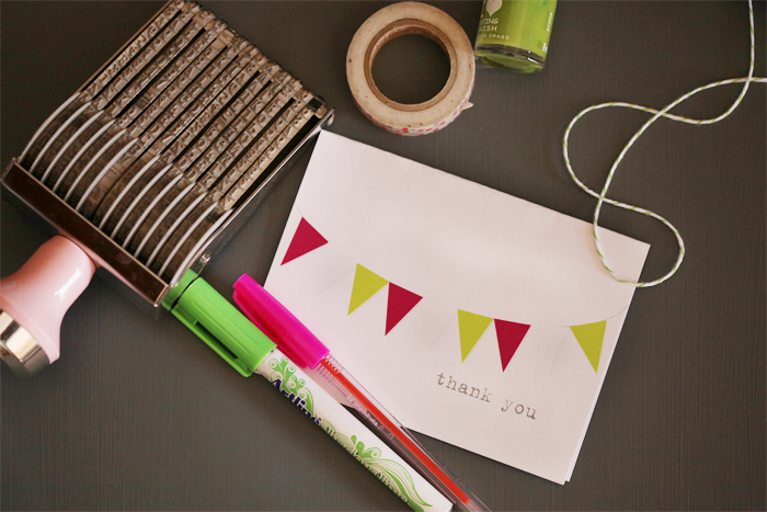 {friday freebie} thank you bunting in pink and green