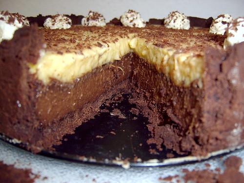 Inside chocolate, coconut and mango velvet tart