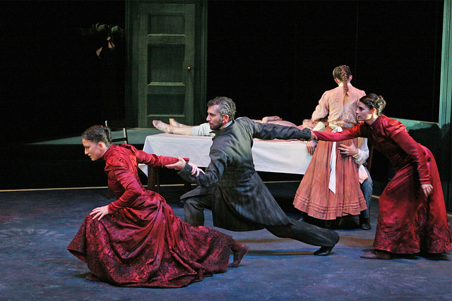 Charlotte Broom as Mrs Alving, Omar Gordon as Pastor Manders, Clemmie Sveaas as Young Mrs. Alving in Ghosts. ©Dee Conway/ROH 2006