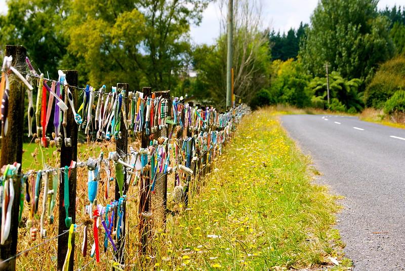 Toothbrush Fence, Te Pahu, Waikato, New Zealand.