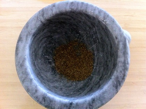 Anise Seed Ground into Powder with Pestle