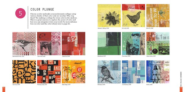 Book spread collage color plunge from The Collage Workbook