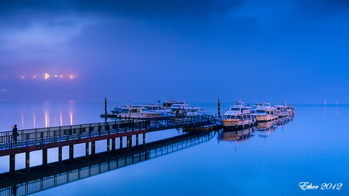 blue night sunrise ship olympus tranquil sunbreak ether 日月潭 sunmoonlake dwan em5 etherhuang