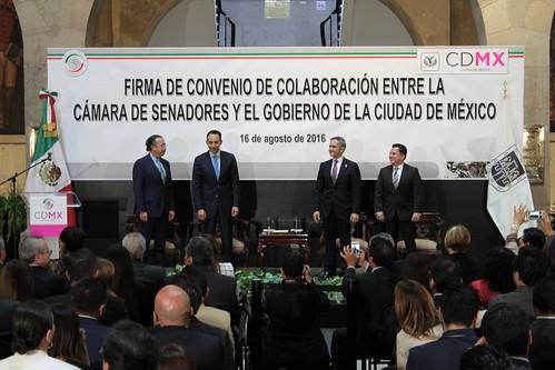 El día 16 de agosto del 2016 se llevó a cabo en la Casona de Xicoténcatl la Firma del convenio de colaboración entre la Cámara de Senadores y el Gobierno de la Ciudad de México.