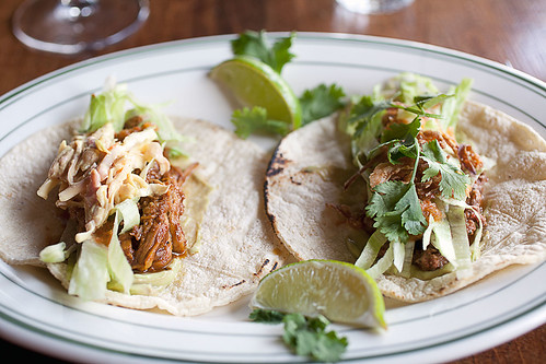 Pork and ground beef tacos
