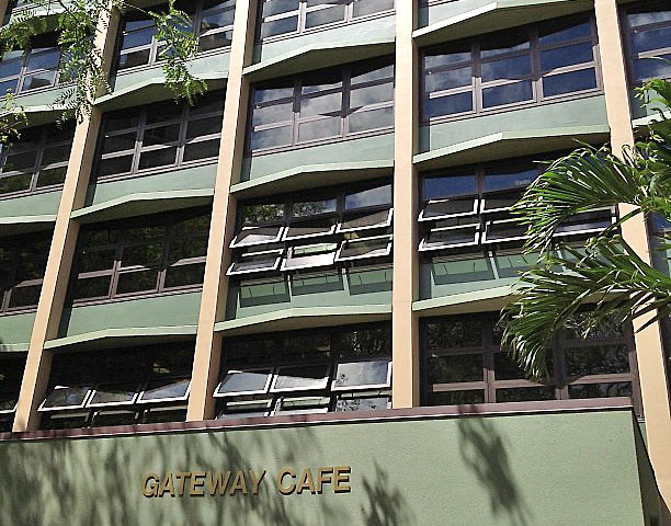 <p>Constructed in 1962, the International Gateway House was the first co-ed residence hall at UH Manoa. In September 2011, the two-tower building was shut down for a $12 million renovation project that will provide its 218 student occupants with modernized living accommodations. Among the renovations were new exterior paint.</p>