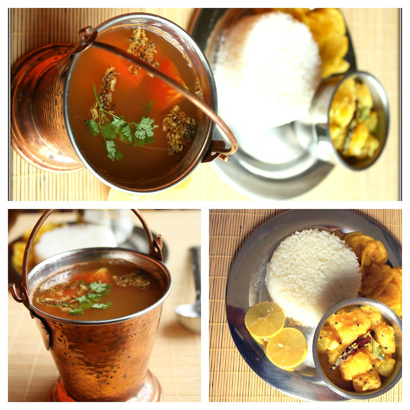 rasam rice collage