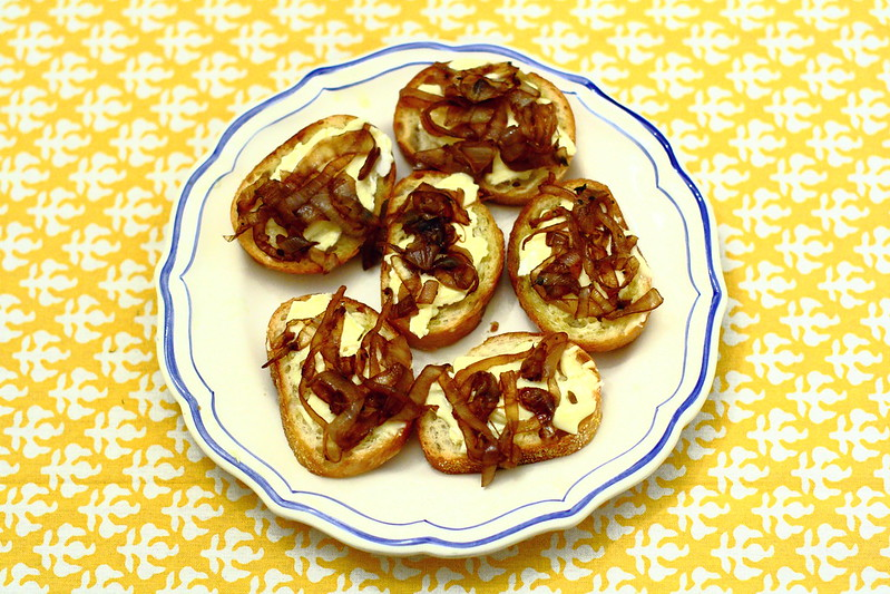 Goat Cheese and Caramelized Onion Crostini