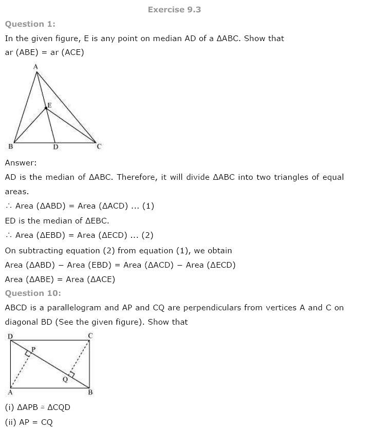 NCERT Solutions for Class 9th Maths Chapter 9 Areas of – Area of a Triangle Worksheet Pdf