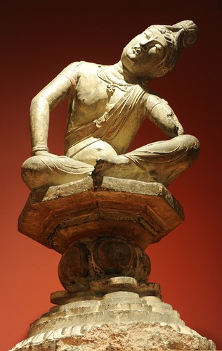 Bodhisattva on raised platform, white stone, statue, (left arm missing) Art Institute of Chicago, Illinois, USA by Wonderlane