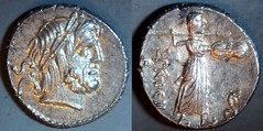RRC 379/1 L.PROCILI.F. Procilia Denarius. Jupiter S.C. Juno Sospita. Rome 80BC.