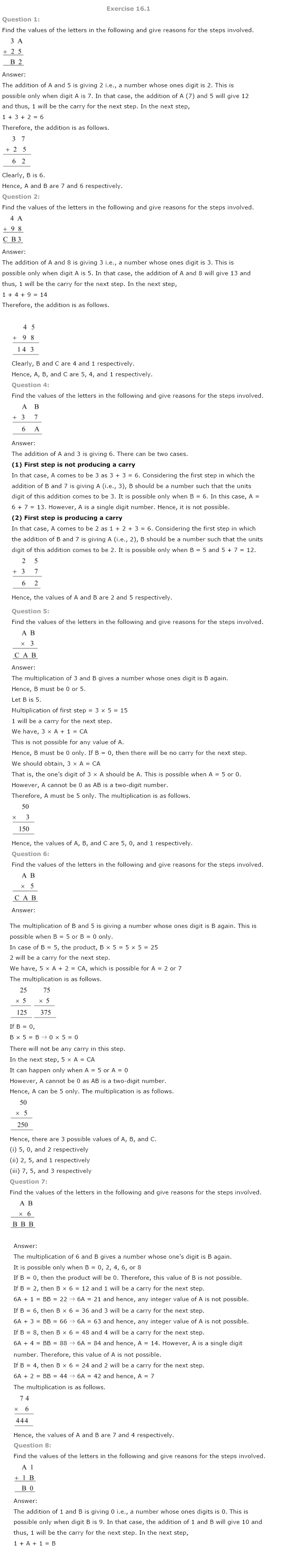 NCERT Solutions For Class 8 Maths Ch 16 Playing With Numbers PDF Download