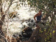 Sandra dangling over Victoria Falls
