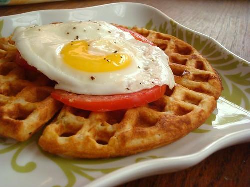 cheddar + roasted hatch chile waffle