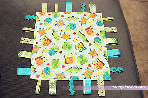 diy ribbon taggy - blanket with ribbon tags