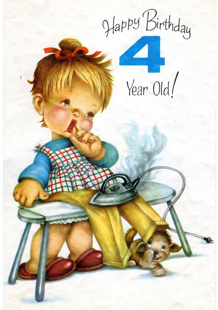Vintage Funny 4 Year Old Birthday Card With Iron