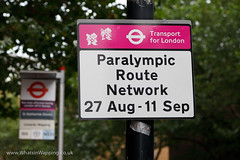 Paralympic Route Network sign on The Highway, Wapping
