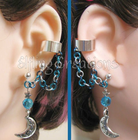 Blue and Silver Moon Cartilage Chain Ear Cuffs