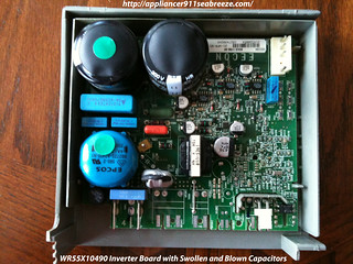 WR55X10490 Inverter Board with Swollen and Blown Capacitors