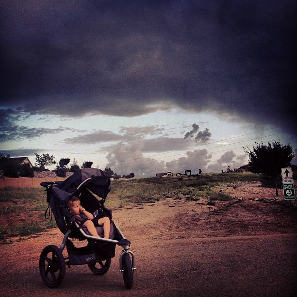 Storm clouds rolling in on our walk tonight. Nothing's better than monsoon season in Arizona!