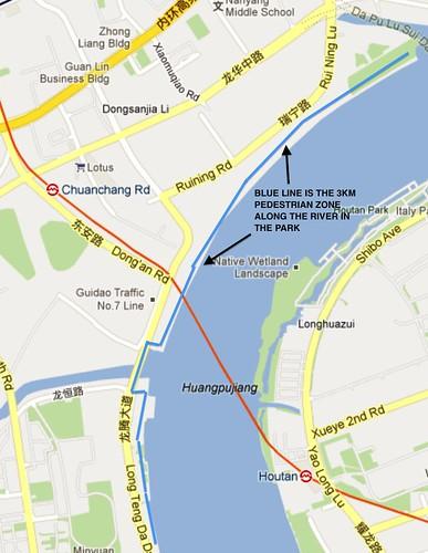 Location of the riverside park Shanghai (Ruining Road)