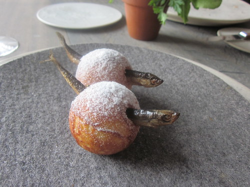 Noma - Copenhagen - August 2012 - Aebleskiver and Muikku (Finnish Fermented Fish)