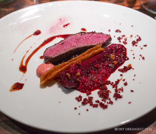 Loin of Roe Deer, Baked Crapaudine Beetroot, Smoked Bacon Puree, Tapioca and Walnuts