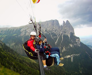 Up in the air, above the Alpe di Siusi