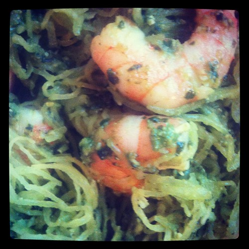"Shrimp pesto and ""pasta"" aka spaghetti squash"