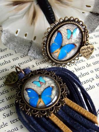 Anel e colar Blue Butterfly by kideias - Artesanato