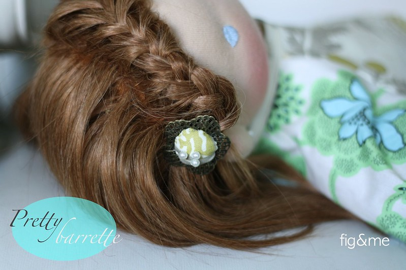 Fabric and bronze barrette