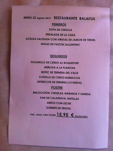 Sallent de Gállego | Restaurante Hotel Balaitus | Menú (versión 1)
