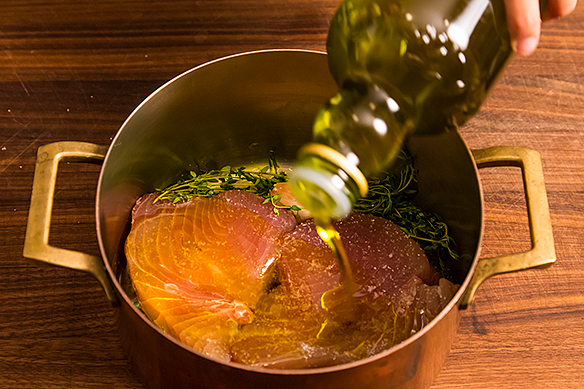 Dousing with olive oil