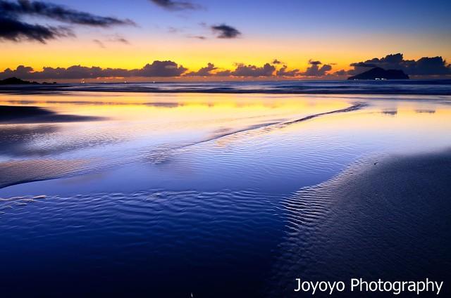沙痕 日出之前 宜蘭外澳沙灘
