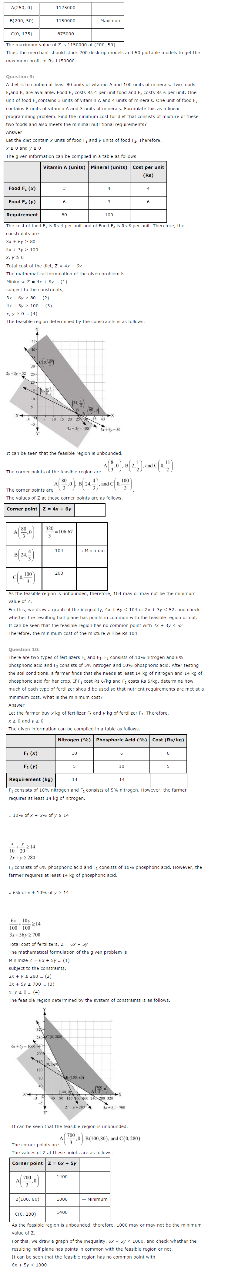 NCERT Solutions for Class 12th Maths Chapter 12 Linear – Linear Programming Worksheet