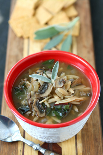 Healthy Mushroom & Swiss Chard Soup Recipe {Vegetarian}