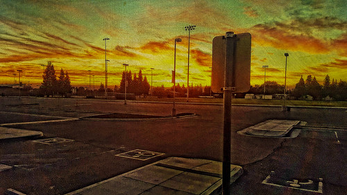 sky sunrise signs parking lot kingsburg davemeyer clouds