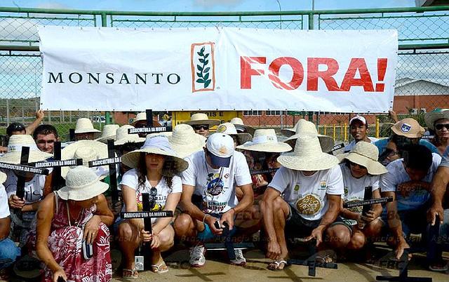 Manifestantes diante de uma das fábricas da Monsanto, em Petrolina (PE), contra os transgênicos - Créditos:  Arquivo/ABr