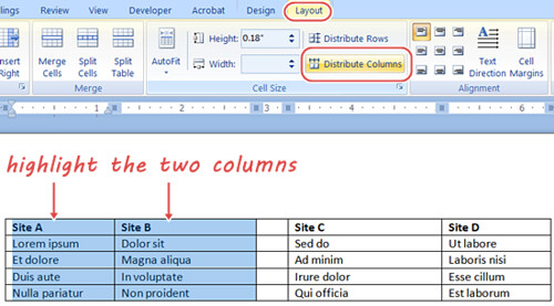 word how to make two columns