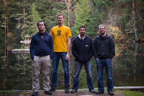 A photo of Mike, Sky, Andrew and Robi at Apptentive's first ShipCamp on Decatur Island
