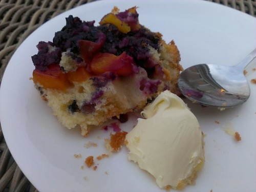 Nectarine & Blueberry sponge pudding cake