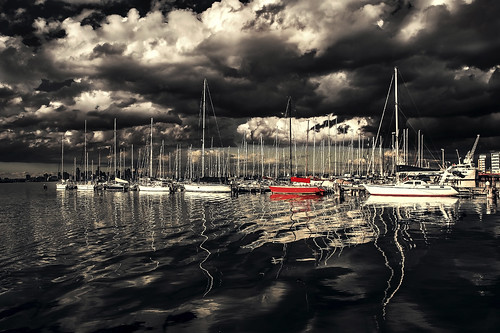 red sea sky cloud reflection water port boat melbourne selectedcolor