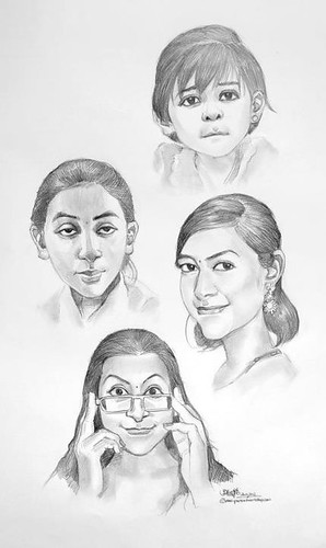 4 portraits of a girl in chronological order of age
