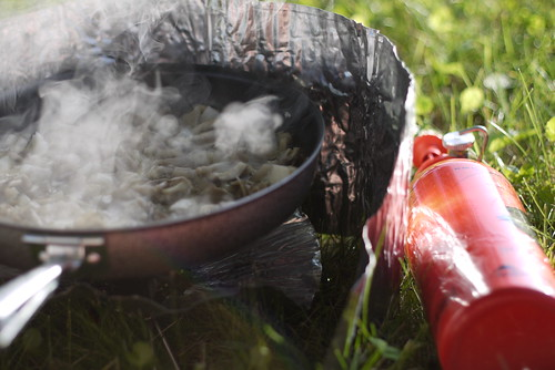 Cooking dinner on the MSR Whisperlite Internationalle at the Fureai Campground (Odaito, Hokkaido, Japan)