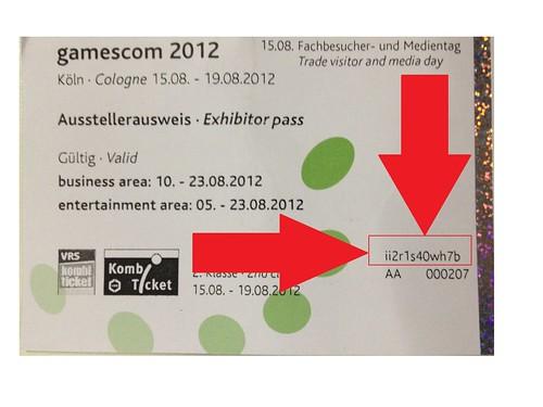 Gamescom 2012 Eintrittkartennummer Playstation Forum